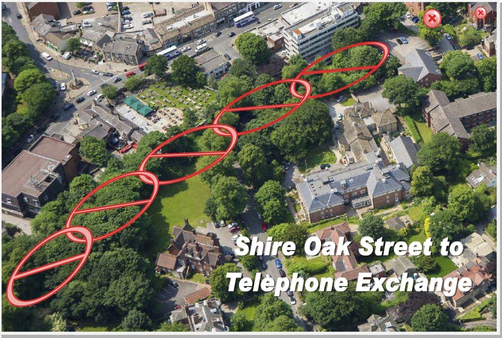 Shire Oak Street to telephone exchange