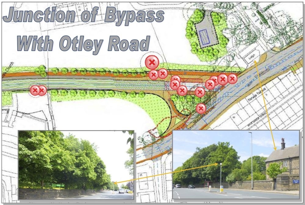 Junction of bypass with Otley Road